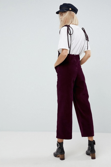 ASOS Cord Jumpsuit in Berry With Tie Strap £45 → £31.5