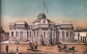 Palacio Federal Legislativo. Litografía de Enrique Naun, 1877-1878.