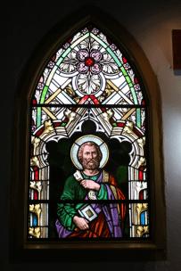 Vitrales encargados a Alemania por el padre Brandser en 1923 e instalados en 1940 por el maestro Aretz en la iglesia. Foto José Luis Rosales, Diciembre 2016.