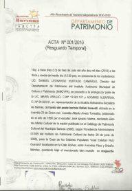 Acta de resguardo, pág. 1