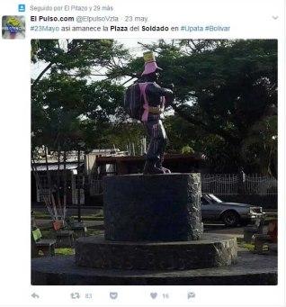 En Twitter se ventiló la reprimenda contra el símbolo militar. Foto @ElPulsoVzla