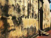 Estado de la pared de la catedral Nuestra Señora de La Asunción, en Nueva Esparta.