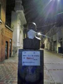 Conflicto en Venezuela afectan el patrimonio cultural. Manifestantes se apropian del simbolismo de las estatuas. Estado Mérida.