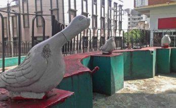 Fuente inoperativa y ornato roto, en la deteriorada plaza Bolívar de Valera. Alerta patrimonio cultural de Venezuela.