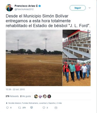 El gobernador del estado Zulia, Francisco Arias Cárdenas, anuncia la la rehabilitación del estadio J. L Ford. Municipio Bolívar, estado Zulia.