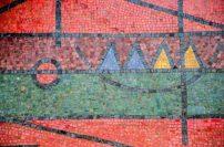 Detalle de la obra Un elemento estático en cinco posiciones, de Oswaldo Vigas, en la UCV. Patrimonio Mundial de Venezuela.