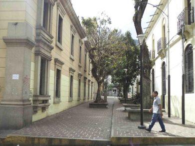 Paseo César Rengifo donde se encuentra la estatua del Rector Heroico Carracioco Parra y Olmedo. Mérida, Venezuela.