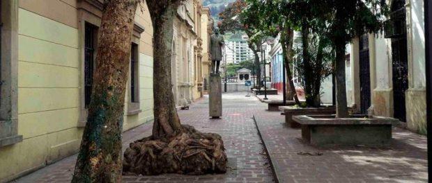 Vista frontal del monumento al Rector Heroico Carraciolo Parra y Olmedo, en el paseo César Rengifo, patrimonio cultural de Mérida, Venezuela.
