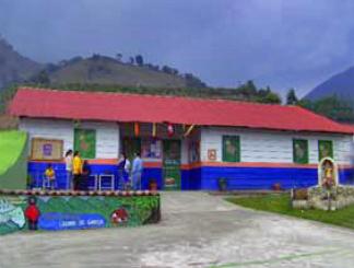 Vista de la fachada de la Escuela Laguna de García, en Táchira. Venezuela.