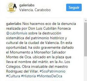 Reacción del equipo de Galeria Braulio Salazar ante la denuncia, 12 de agosto 2017. Patrimonio cultural de Venezuela en peligro.