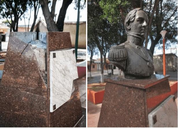 Contrabando de bronce. Robo del busto del general Rafael Urdaneta en julio de 2017. Coro, estado Falcón. Patrimonio cultural venezolano en peligro.