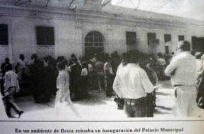 Vista externa del palacio municipal en su inauguración. Patrimonio cultural venezolano.