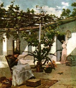 Patio interior, 1901. Obra de Antonio Herrera Toro. Foto colección Galería de Arte Nacional, GAN.