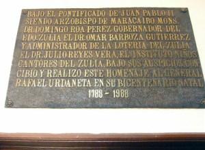Placa conmemorativa del Panteón Regional del Zulia. Patrimonio de Venezuela en peligro.