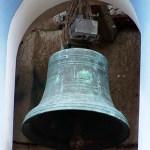 Campana mayor en el vano oeste de la iglesia de Lobatera. Foto Darío Hurtado, julio 2015.