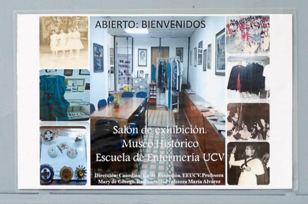 Cartel del Museo Histórico de la Enfermería Venezolana, UCV. Foto Luis Chacín, 2018.