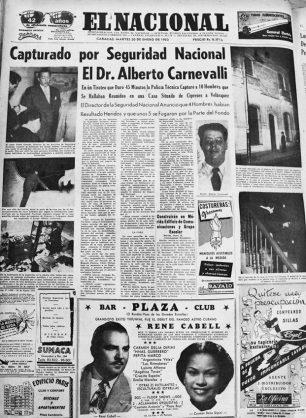 Noticia publicada en El Nacional el 20 de enero de 1953 sobre la captura de Alberto Carnevali. Dig. Samuel Hurtado Camargo.