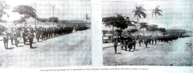 Edificio Nacional de San Cristóbal, estado Táchira. Gráfica captada en 1930 de una parada militar frente a la Iglesia Catedral