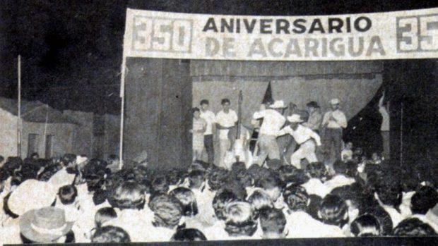 1970. Presentación de tamunangue en los 350 años de Acarigua, Portuguesa. Foto rep. Wilfredo Bolívar. Tamunangue o sones de negro entre Lara y Portuguesa. Patrimonio cultural de Venezuela.