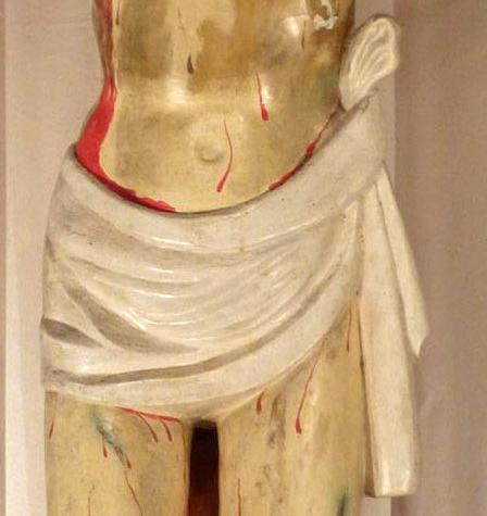 Perizoma original, tallado en la madera. Su estilo austero y clasicista pertenece a los fines del Renacimiento
