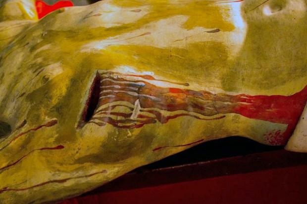 Sección torácica y lumbar derecha (izq. del observador) y llaga sangrante de la herida en el costado, de la talla del Santo Cristo de La Grita. Foto Abel Gerardo Rodríguez, TRT, 2013.