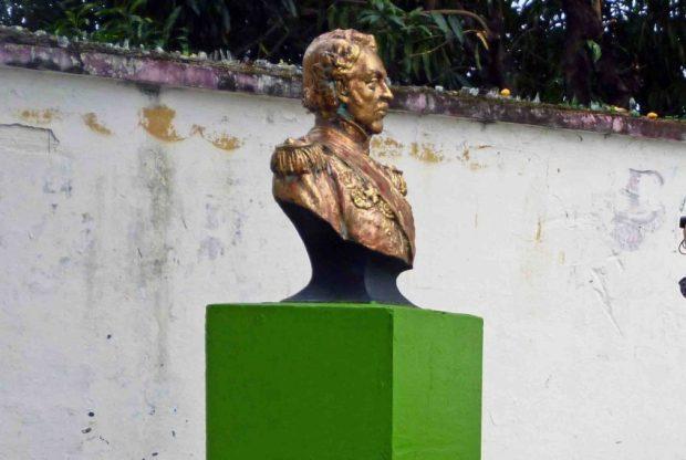 Busto de José Antonio Páez, hurtado de la plaza con su nombre en la ciudad de Mérida. Foto Samuel Hurtado Camargo, abril 2018.
