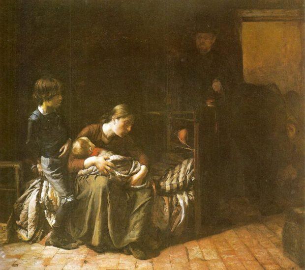 El plazo vencido (1887), obra de Cristóbal Rojas. Colección Fundacion Museos Nacionales, pieza resguardada en la Galería de Arte Nacional, Caracas-Venezuela.