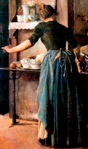 Fragmento de La taberna (1887), donde se aprecia la grácil figura de la mesera. Obra de Cristóbal Rojas. Foto colección Galería de Arte Nacional.