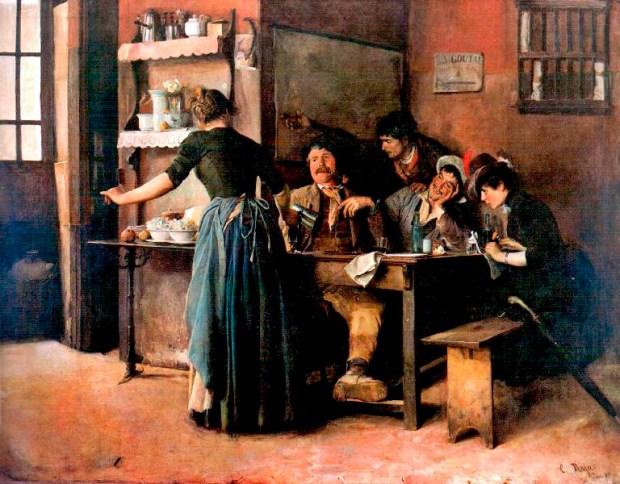 La taberna (1887), pintura de Cristóbal Rojas