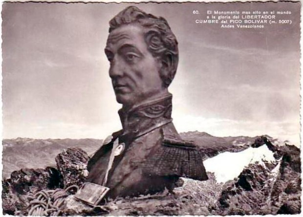 Monumento a El Libertador en el pico Bolívar de Mérida. Patrimonio cultural venezolano. Tarjeta postal del monumento a El Libertador en el pico Bolívar de Mérida a mediados de los años 60 del siglo XX.