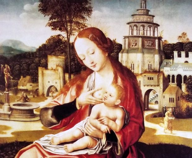 El paisaje de fondo, desproporcionado, hace resaltar la imagen de la La Virgen de la leche. Colección Museo de Bellas Artes.