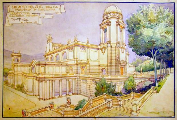 Palacio del Sol, propuesta de MMM para el concurso de anteproy de la Expo Internacional de Barcelona, 1926, tinta y acuarela, Archivo ETSAB.