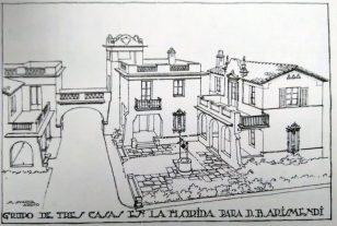 """Conjunto de tres casas en La Florida para D. B. Arismendi, período 1928 al 32. Foto Gasparini, Graziano y Posani, Juan Pedro, """"Caracas a través de su arquitectura"""". Armitano Editores. Tercera edición, 1988."""