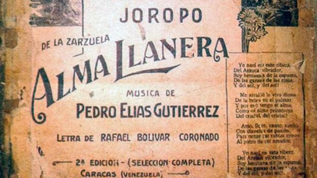 El Alma llanera, joropo urbano de Pedro Elías Gutierrez y Rafael Bolívar Coronado. Foto en TW @CculturalChacao
