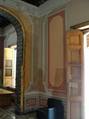Detalle de la pintura mural ilusionista en los Espacios Protocolares de la Villa Santa Inés. Foto: Eduardo Tovar Zamora.