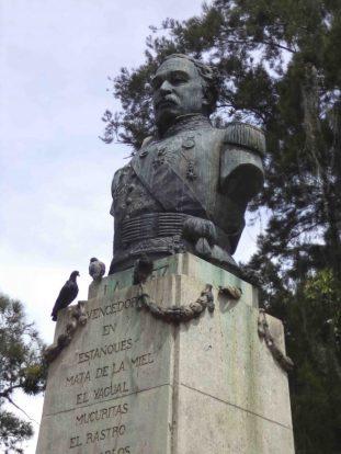 Detalles del busto de bronce al general Páez, mayo 2017. Foto Samuel Hurtado Camargo