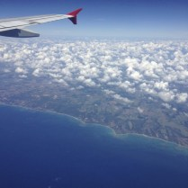 coastline of brasil. lucky to be sitting on the right side (pun intended) of the plane!