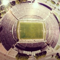 a photo of a photo of maracana stadium, where uruguay beat brasil 2:1 in the world cup in 1950