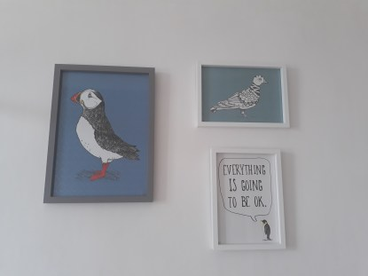 Prints: all Martha and Hepsie; Grey box frame: B&M; White box frames: ASDA
