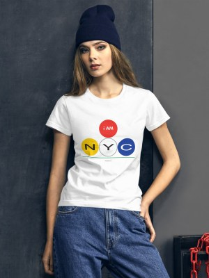 i AM NYC Ladies Ringspun Fashion Fit T-Shirt with Tear Away Label