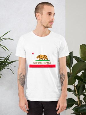 i AM California Unisex Short Sleeve Jersey T-Shirt with Tear Away Label