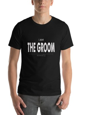 I am The Groom Dark Unisex Short Sleeve Jersey T-Shirt with Tear Away Label
