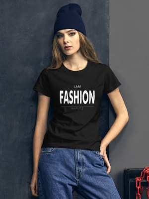 i AM Fashion Dark Ladies Ringspun Fashion Fit T-Shirt with Tear Away Label