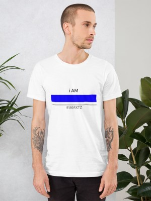 i AM Blue line Unisex Short Sleeve Jersey T-Shirt with Tear Away Label