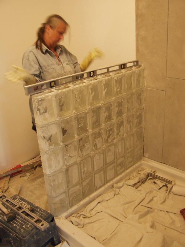 Mackys New House  Glass Block Shower