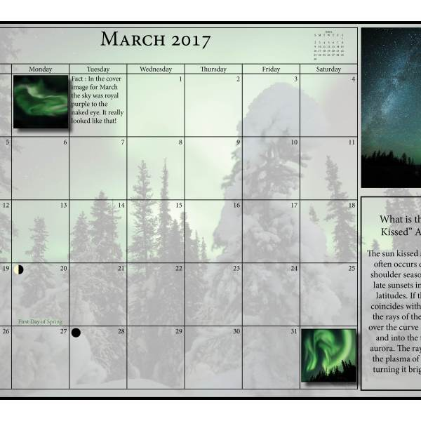 Aurora Calendar, 2017, Ian Johnson, Aurora Borealis, Northern Lights, Calendar