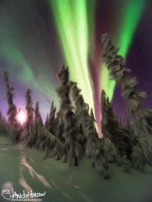 A water-color conversion of the aurora borealis in Fairbanks, Alaska.
