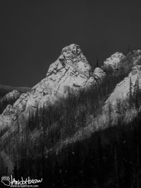 The orange light of the Arctic winter provided the color to to filter this black and white image of Angle Rocks, Chena Ridge, Alaska.