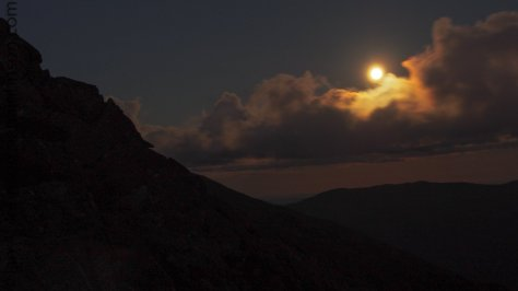 Moon rise over the White Mountains of New Hampshire