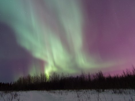 Aurora over the Tanana River, Fairbanks, AK. kP5 02/28/14